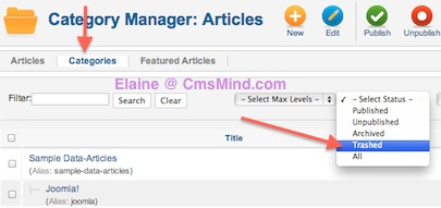 cmsmind elaine restore category from trash 1 Joomla 2.5 Tutorial   How to Restore a Trashed Category