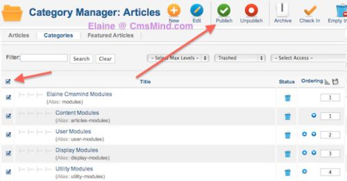 cmsmind elaine restore category from trash 2 Joomla 2.5 Tutorial   How to Restore a Trashed Category