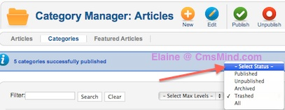 cmsmind elaine restore category from trash 3 Joomla 2.5 Tutorial   How to Restore a Trashed Category