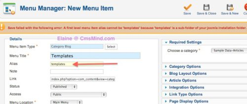 A first level menu item alias cannot be 'templates' because 'templates' is a sub-folder of your joomla installation folder.