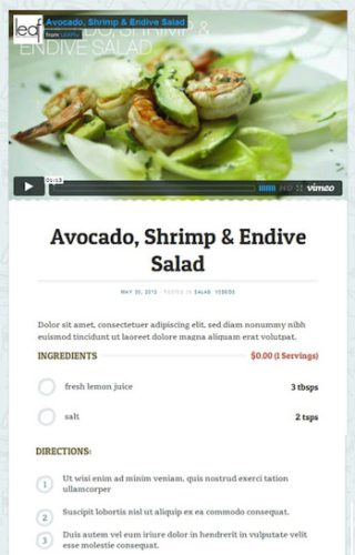 cooking food recipe website wordpress theme foodie 2 Cost to Create a Recipe Website with a Recipe & Ingredients Builder   Foodie