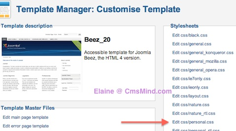 Joomla 2.5 - Edit Beez20 personal.css in Template Manager