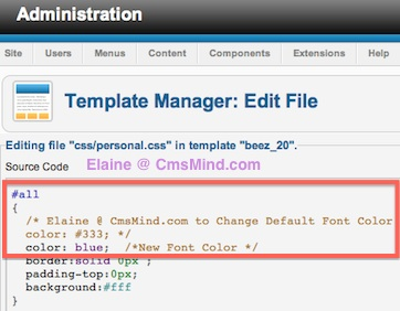 Joomla 2.5 - Search and replace code for default font