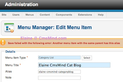 Joomla 2.5 error: Another menu item has the same alias in Root.