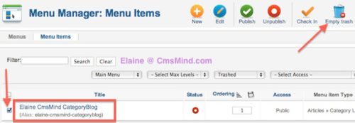 joomla 2 5 cmsmind save failed same parent same alias 3 Joomla 2.5   How to Delete a Menu Item Alias   Parent has this alias