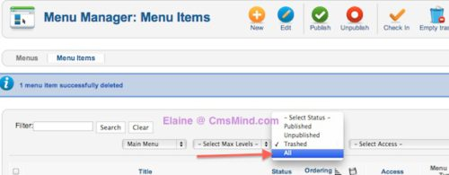 joomla 2 5 cmsmind save failed same parent same alias 4 Joomla 2.5   How to Delete a Menu Item Alias   Parent has this alias