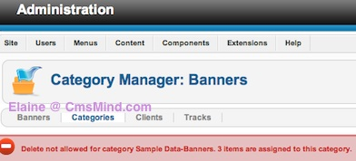 joomla 2 5 delete not allowed for category items are assigned to category 1 Joomla 2.5 Tutorial   Delete not allowed for category Sample Data Banners