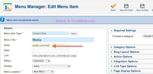 Joomla 2.5 Error – A first level menu item alias cannot be 'media' because 'media' is a sub-folder of your joomla installation folder
