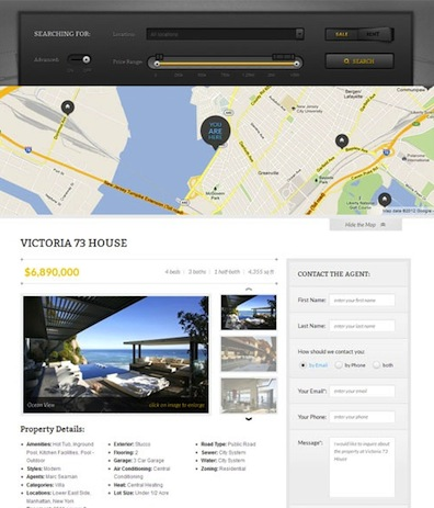 Real Estate Template Google Maps and Individual Property Listing