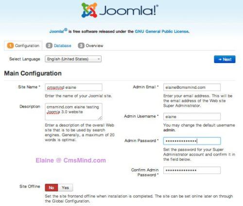 Joomla 3.0 Installation - Configuration