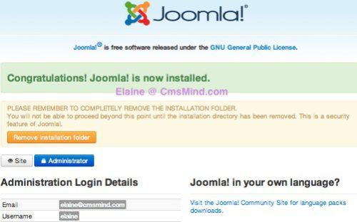 Joomla 3.0 Installation Installed - Remove folder