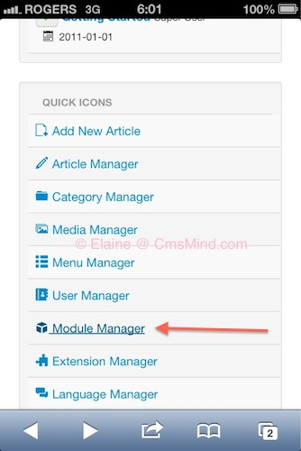 Joomla 3 0 module manager iphone 1 Joomla 3.0 Tutorial   How to Remove the Login Form from the frontpage