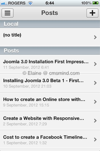Wordpress Iphone App - Create New Post