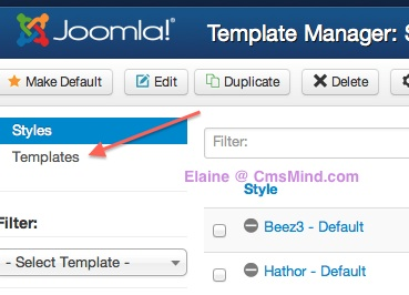 Joomla 3.0 - Click on Templates in Template Manager
