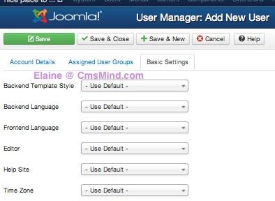 elaine joomla 3 0 create new user basic settings 6 Joomla 3.0 Create a New Super User Account