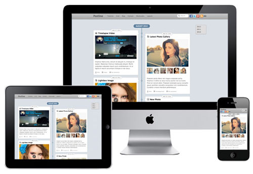 Responsive Facebook Timeline WordPress Theme - Postline