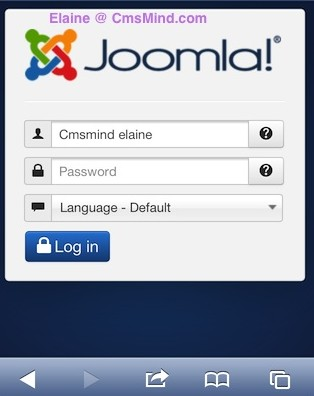 Joomla 3.0 Administrator Login Screen on iPhone