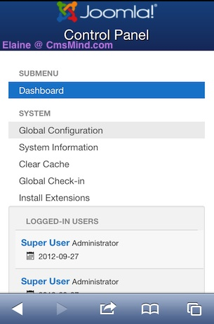 Joomla 3.0 Backend Administrator Main Menu on iPhone