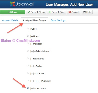 joomla 3 0 user manager create new user4 Joomla 3.0 Create a New Super User Account