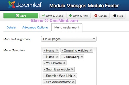 joomla 3 0 cmsmind create new footer module menu assignment 5 How to Add a Footer to Joomla 3.0