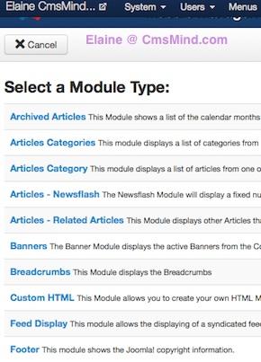 joomla 3 0 cmsmind create new module type 2 How to Add a Footer to Joomla 3.0