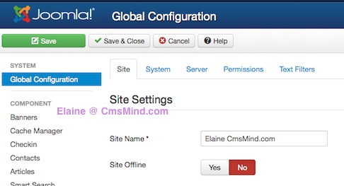 joomla 3 0 cmsmind global configuration site name 8 How to Add a Footer to Joomla 3.0