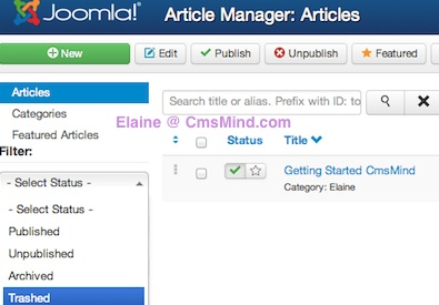 joomla 3 article manager trash manager 1 Joomla 3.0 Tutorial   How to Empty Trash in Article Manager