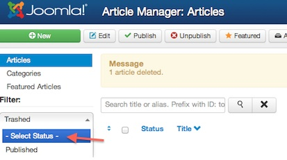 joomla 3 article manager trash manager 3 Joomla 3.0 Tutorial   How to Empty Trash in Article Manager