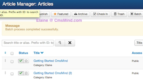 Joomla 3.0 - Article Manager Copy Article Successful