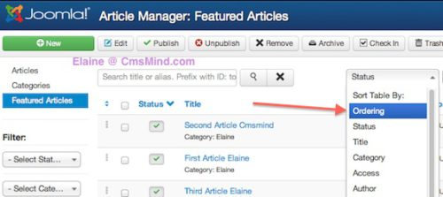 joomla 3 re order featured articles 2 Ordering Featured Articles in Joomla 3.0