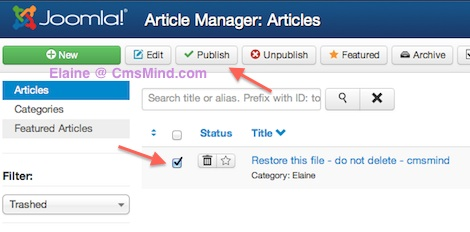 joomla 3 restore articles from trash article trash manager Joomla 3.0 Tutorial   How to Restore an Article From Trash Manager