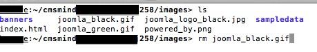 Joomla 2.5.8 - Delete joomla_black.gif in ssh or telnet