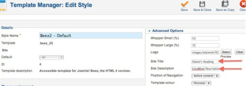 Joomla 2.5.8 Change Site Title and Site Description