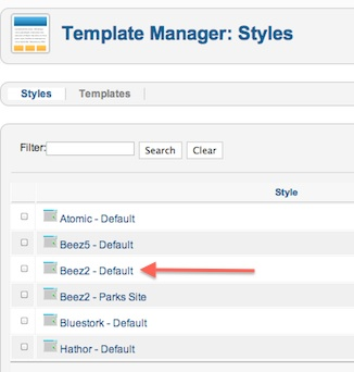 Joomla 2.5.8 Edit Beez2 - Default Template