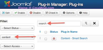 Joomla 3.0 - Activate Smart Search Plugin in Plugin Manager