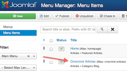 Joomla 3 - Edit menu Item to Hide Article Hits