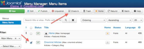 joomla 3 check in menu item 4 Joomla 3.0 Tutorial   How to Change Default Landing Page
