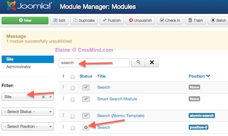 Joomla 3.0 - Unpublish Search from position-0 in Module Manager