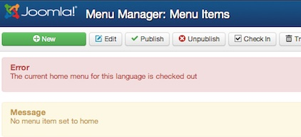 joomla 3 main menu set default error current home menu for language checked out 3 Joomla 3.0 Tutorial   How to Change Default Landing Page