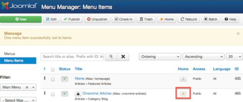 joomla 3 set default main menu item 5 Joomla 3.0 Tutorial   How to Change Default Landing Page