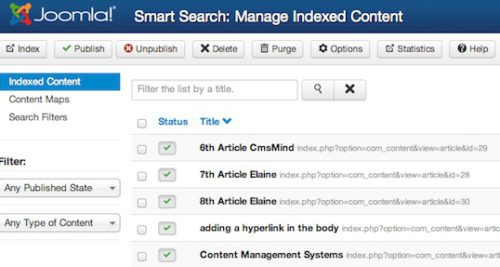 Joomla 3.0 - Smart Search - Manage Indexed Content