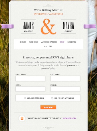 Responsive Wedding Website Invitation Just Married RSVP Module