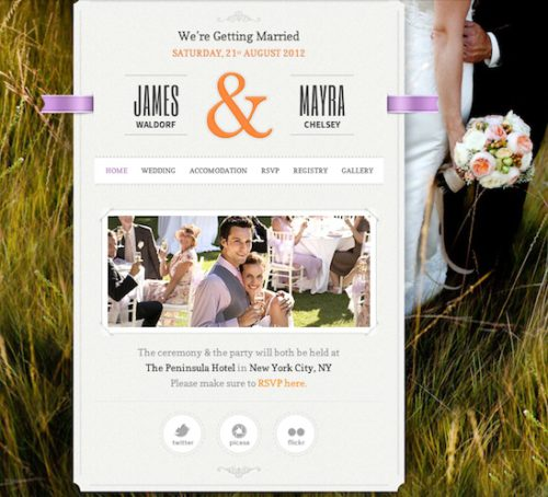responsive wedding website website wedding invitation just married wordpress theme 1 Cost to Create a Responsive Wedding Website with Wordpress   Just Married