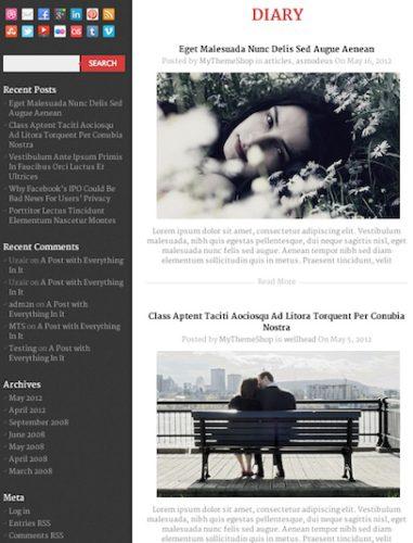 free responsive diary blog wordpress theme diary Best Free Themes