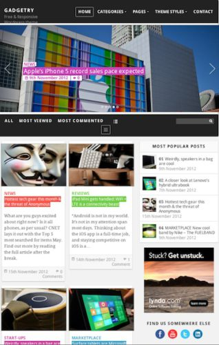 free responsive magazine wordpress theme gadgetry Cost to Build a Website Like TechCrunch.com with Wordpress Theme   Gadgetry