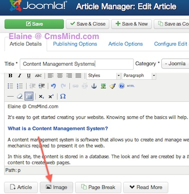 Joomla 3.0 Tutorial - Insert Image to Wrap Text around in Article