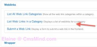 Joomla 3.0 - Select Weblinks Menu Item Type