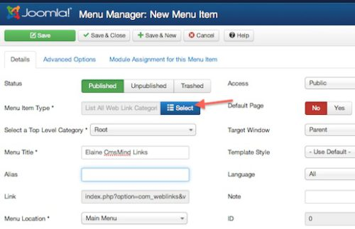 Joomla 3.0 - Create New Menu Item - Weblinks