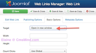 Joomla 3.0 - Change Weblink Target to Open in New Window