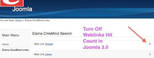 joomla 3 turn off weblinks hit counter How to turn off the Joomla 3.0 Weblinks Hits Counter
